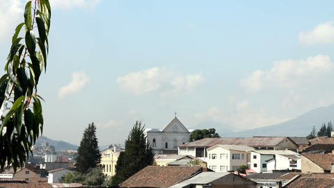 Neighbourhood and small chapel in Quito Stock Video Footage