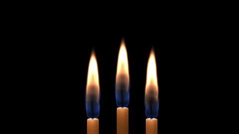 Three Candles Burning And Camera Movement stock footage