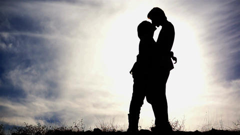 Couple Kissing Silhouette Stock Video Footage