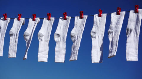 White Socks Hanging Dolly Stock Video Footage