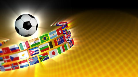 Soccer International Flags Sport Background 56 (HD) Stock Video Footage