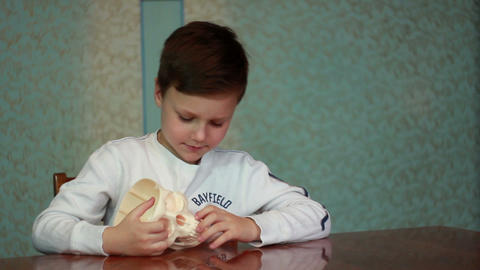 Boy Plays With Skull 1 stock footage