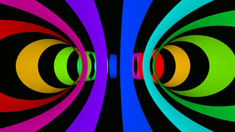 color rings tunnel Stock Video Footage