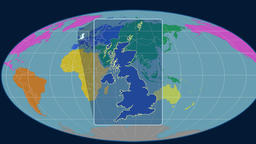 United Kingdom - 3D tube zoom (Mollweide projection). Continents Animation