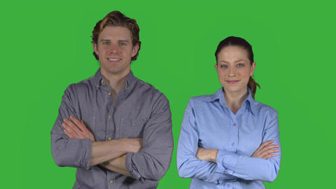 Professional couple crosses their arms (Green Keys) ビデオ