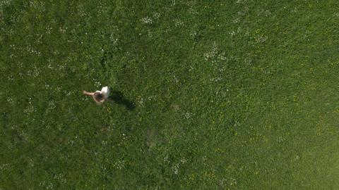 Aerial, vertical - Happy young woman spinning around in the meadow Footage
