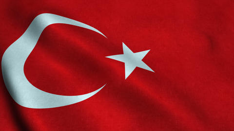 Realistic Ultra-HD flag of the Turkey waving in the wind. Seamless loop with hig Animation