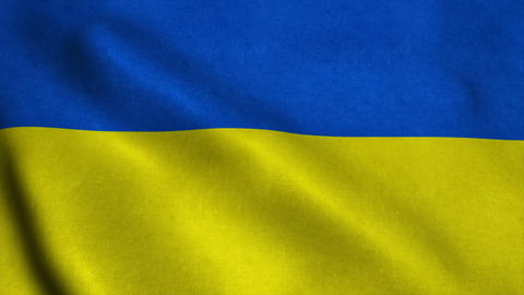 Realistic Ultra-HD flag of the Ukraine waving in the wind. Seamless loop with hi Animation