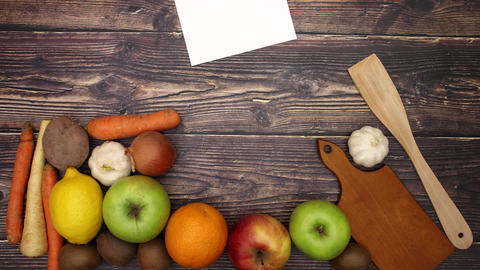Paper for recipe and food supplies falling - Stop Motion Animation
