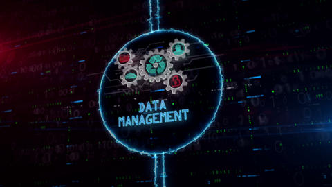 Data management symbol hologram in electric circle Animation