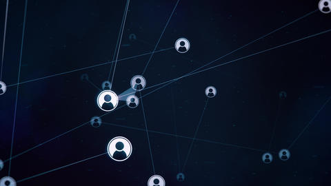 Rotating Avatars Network on Dark Blue Backdrop Animation
