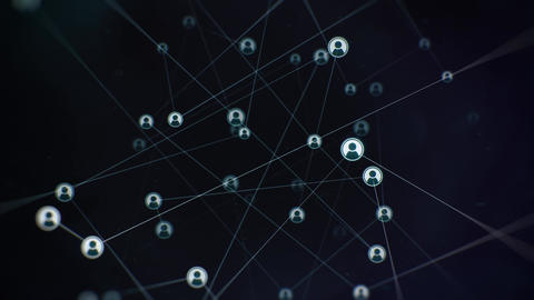 Rotating Social Connections Network on Dark Backdrop Animation