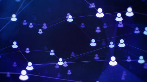 Rotating Social Network Connections on Dark Blue Background Animation