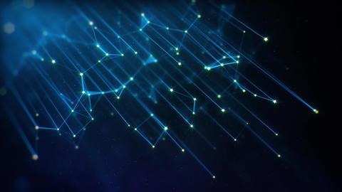 Tilted Blue Futuristic Plexus Network Lines on Dark Background Animation