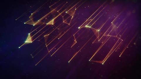 Tilted Golden Plexus Network Lines on Dark Background Animation