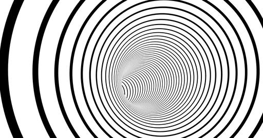 Striped tunnel 3d optical illusion footage. Monochrome torus inside motion Live Action