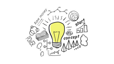 lamp and hand-drawn Infographics animation Animation