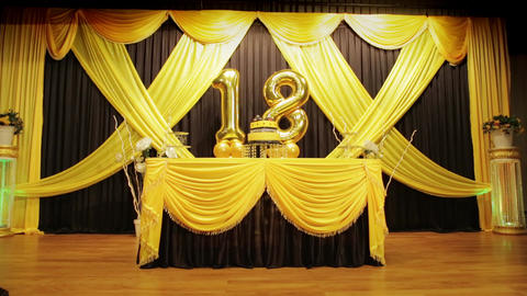 18th Happy Birthday anniversary golden balloon with cake and stage decoration Live Action