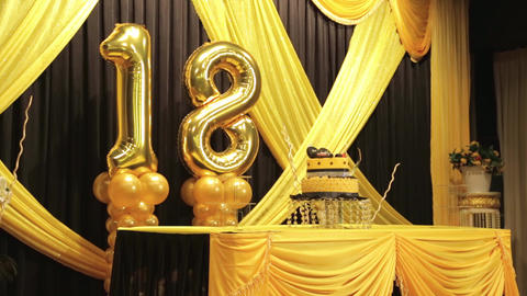 18th Happy Birthday anniversary golden balloon with cake... Stock Video Footage