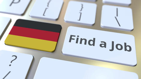 FIND A JOB text and flag of Gemany on the buttons on the computer keyboard Live Action