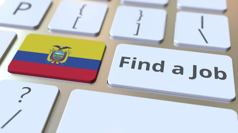 FIND A JOB text and flag of Ecuador on the buttons on the computer keyboard Live Action