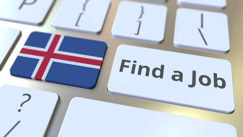 FIND A JOB text and flag of Iceland on the buttons on the computer keyboard Live Action