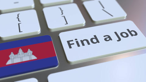 FIND A JOB text and flag of Cambodia on the buttons on the computer keyboard Live Action