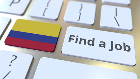 FIND A JOB text and flag of Colombia on the buttons on the computer keyboard Live Action