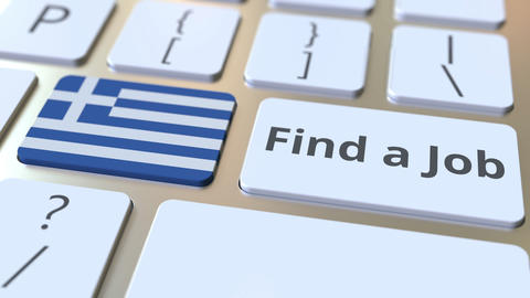 FIND A JOB text and flag of Greece on the buttons on the computer keyboard Live Action
