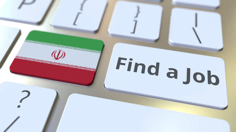 FIND A JOB text and flag of Iran on the buttons on the computer keyboard Live Action