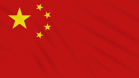 China flag waving cloth background, loop Animation