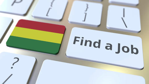 FIND A JOB text and flag of Bolivia on the buttons on the computer keyboard Live Action