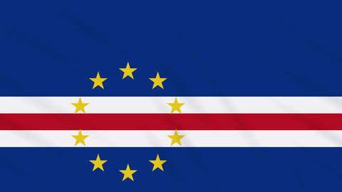 Cape Verde flag waving cloth background, loop Animation