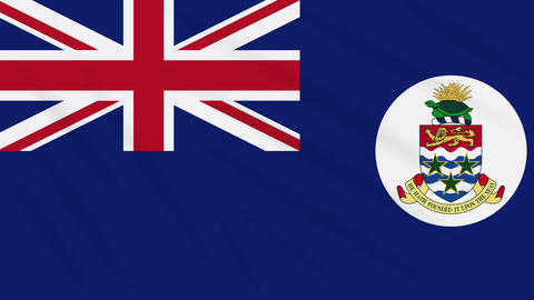 Cayman Islands flag waving cloth background, loop Animation