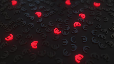Glowing red Euro signs among black EUR symbols. Conceptual 3D animation Footage