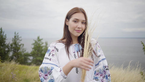 Portrait charming confident carefree caucasian girl wearing long summer fashion Footage
