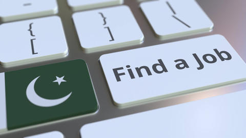 FIND A JOB text and flag of Pakistan on the buttons on the computer keyboard Live Action