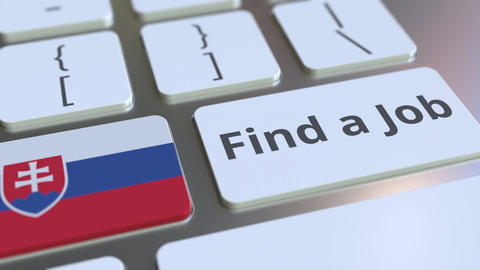 FIND A JOB text and flag of Slovakia on the buttons on the computer keyboard Live Action