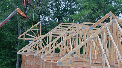 Construction Site Wood Home Framing at Building frame Live Action