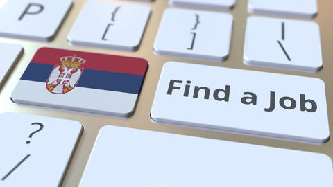 FIND A JOB text and flag of Serbia on the buttons on the computer keyboard Live Action
