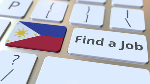 FIND A JOB text and flag of Philippines on the buttons on the computer keyboard Live Action