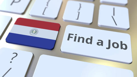 FIND A JOB text and flag of Paraguay on the buttons on the computer keyboard Live Action