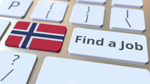 FIND A JOB text and flag of Norway on the buttons on the computer keyboard Live Action