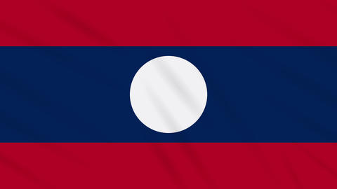 Laos flag waving cloth background, loop Animation