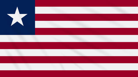 Liberia flag waving cloth background, loop Animation