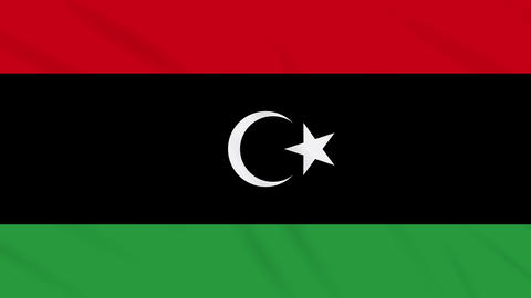Libya flag waving cloth background, loop Animation