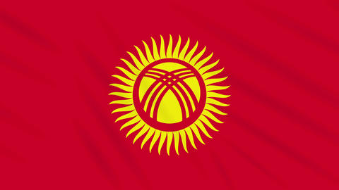 Kyrgyzstan flag waving cloth background, loop Animation