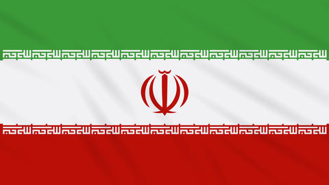 Iran flag waving cloth background, loop Animation