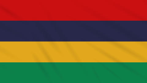 Mauritius flag waving cloth background, loop Animation