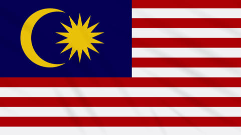 Malaysia flag waving cloth background, loop Animation